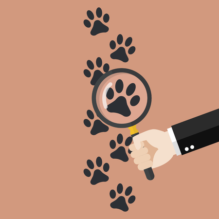 Hand holding magnifying glass over paw print. Vector illustration Illustration