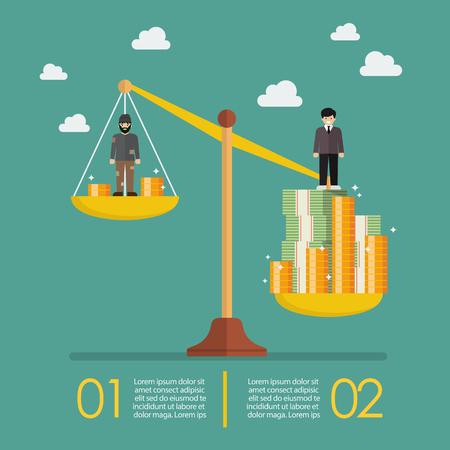 Gewichtsschaal tussen rijke man en arme man infographic. Zakelijke metafoor concept Stock Illustratie
