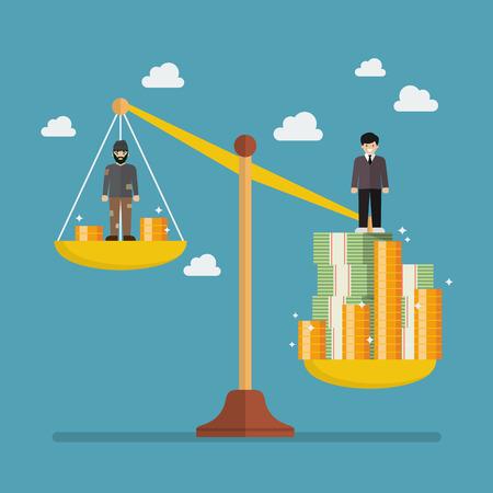 Échelle de poids entre l'homme riche et le pauvre. Concept de métaphore d'affaires Vecteurs