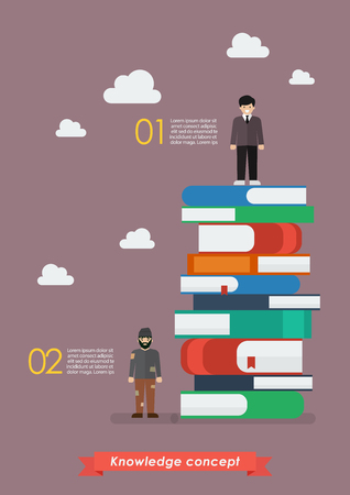 smart man: Failure man and Success man on a lot of books infographic. Knowledge concept