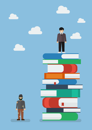 Failure man and Success man on a lot of books. Knowledge concept
