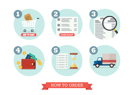 How to order. Flat style design Vector Illustration.