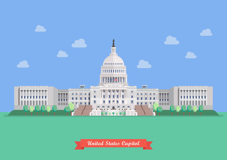 federal election: United States capitol in flat style design. vector illustration