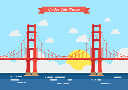 Flat style Golden Gate Bridge. Vector illustration