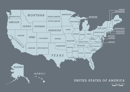 USA map with name of states. Vector illustration