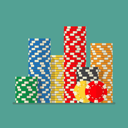 illustraion: Stacks colorful poker chips. Vector illustraion