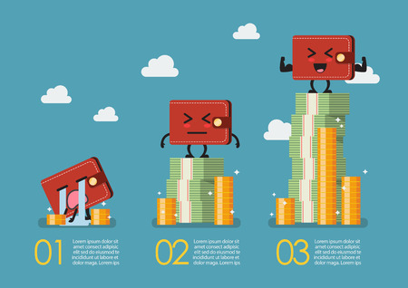 Wallet with money infographic. Social stratification concept 向量圖像