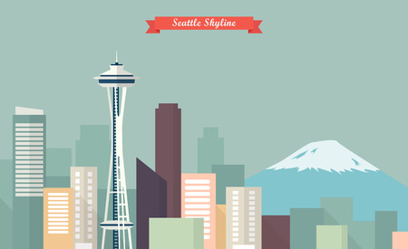 Panoramę Seattle. ilustracja wektorowa Ilustracje wektorowe