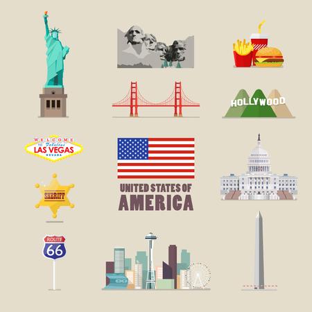 アメリカのアイコンを設定します。フラット スタイルのベクトル図  イラスト・ベクター素材