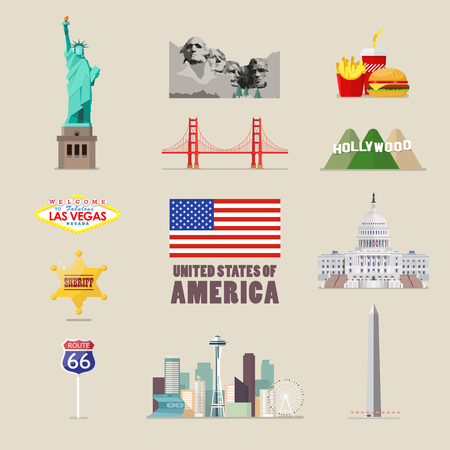America icons set. flat style vector illustration