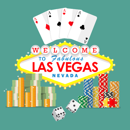 Welcome to Las Vegas sign with gambling elements. , playing cards, dice, chips and money