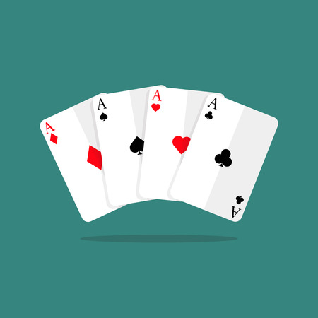 Four aces playing cards. vector illustration