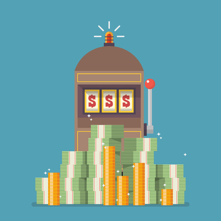 Slot machine jackpot with a lot of money. Flat style vector illustration