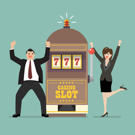 Slot machine jackpot with celebrate businessman and woman.