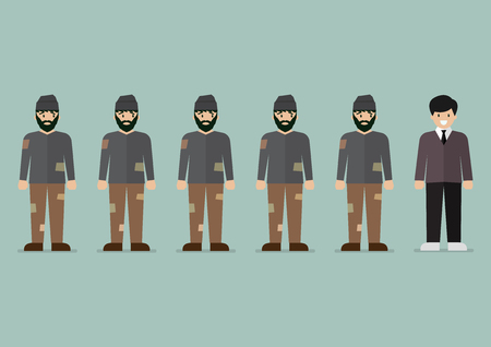 Group of homeless men and rich man character. Vector illustration