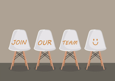 JOIN OUR TEAM texts on the chairs. Recruitment concept