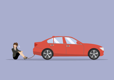 Desperate business woman with car debt burden. business concept