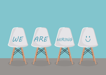 WE ARE HIRING texts on the chairs. Recruitment concept 向量圖像