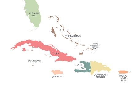 Greater Antilles political map. Vector illustration