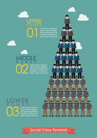 사회 계층의 피라미드 infographic. 벡터 일러스트 레이 션