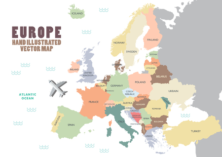 Europe map with color and name illustration