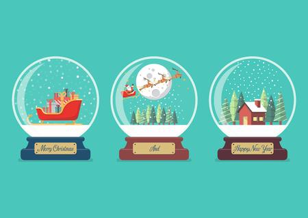 Set of Merry christmas glass ball collection Vector illustration 일러스트