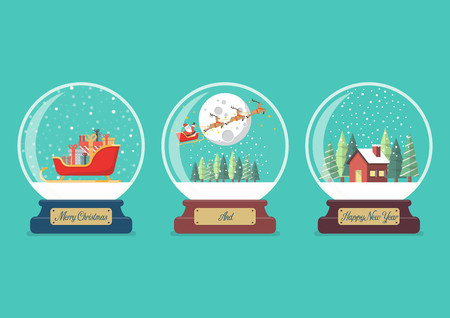 Set of Merry christmas glass ball collection Vector illustration Vectores