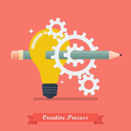 thinking machines: Creative process idea concept. Vector Illustration