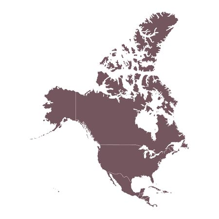 Detailed Map of North America continent. Vector illustration