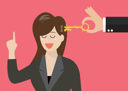 potential: Man holding a key unlocking business woman mind. Vector illustration