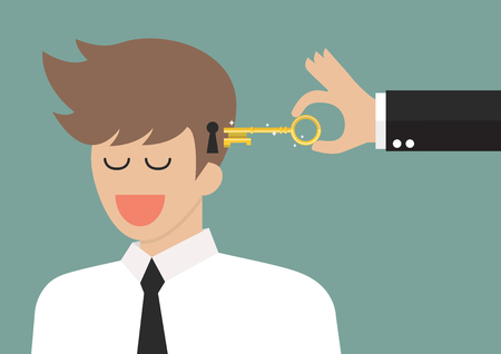 Man holding a key unlocking businessman mind. Vector illustration
