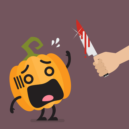 Hand with a knife prepare to cut the funny pumpkin character. Halloween concept Vector illustration Illustration