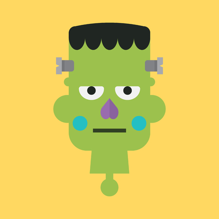 Head of green zombie. Halloween character Vector illustration