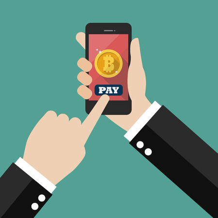 Online bitcoin payment concept. Businessman holding smartphone with bitcoin currency