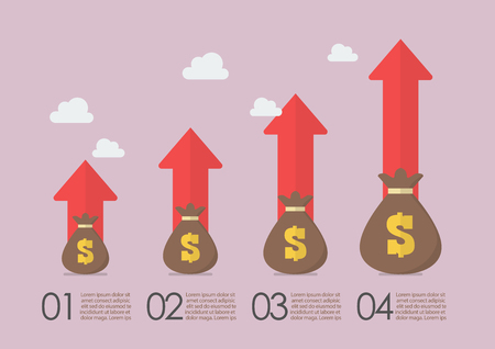 Money bags with growth arrows infographic. Business concept