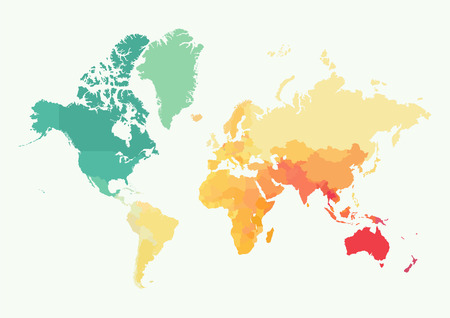 High detail world map with color. All elements are separated in editable layers. Illustration