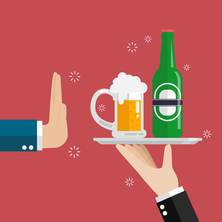 Hand gesture rejection a glass of beer, vector illustration.