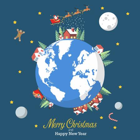 Frohe Weihnachten und ein glückliches neues Jahr mit Erdkugel. Grußkarte Vektor-Illustration. Standard-Bild - 88319370