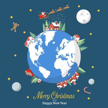 Merry Christmas and Happy New Year with earth globe. Greeting card vector illustration. Ilustração