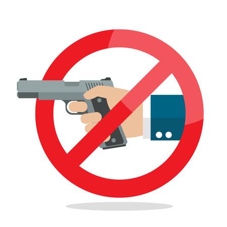 gun control: No gun weapon sign on white background, vector illustration.