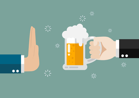 Hand gesture rejection a glass of beer. No alcohol Иллюстрация