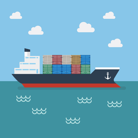 Cargo shipping with containers. Vector Illustration