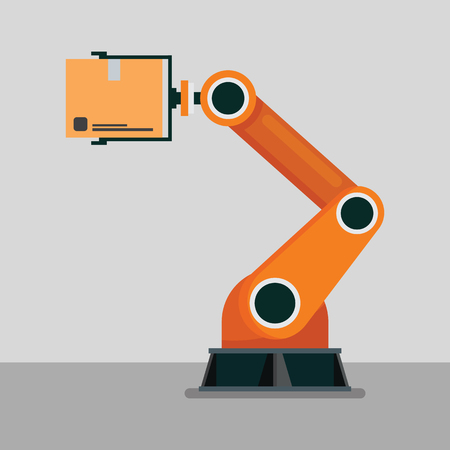 Industrial mechanical robotic arm. Vector Illustration Vectores