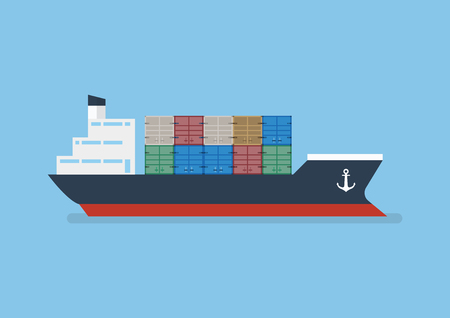 Container ship in flat style. Vector Illustration
