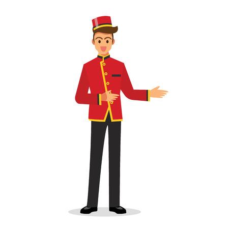 Bellboy hotel service. Vector Illustration Illustration