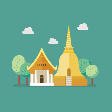 Golden pagoda and buddhism temple. Flat style vector illustration