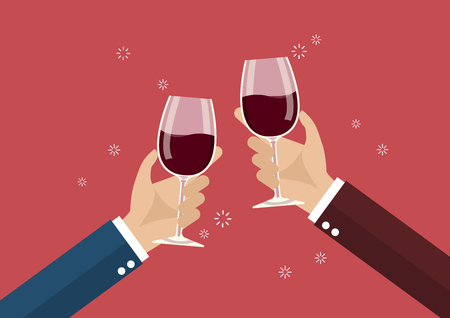 Businessmen toasting a wine glasses. Party celebration