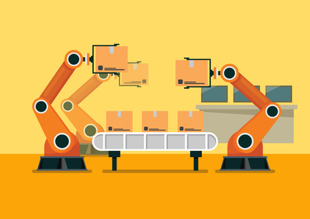 Bussinessman using tablet to control automation robot arm machine in smart factory industrial. vector illustration Illustration
