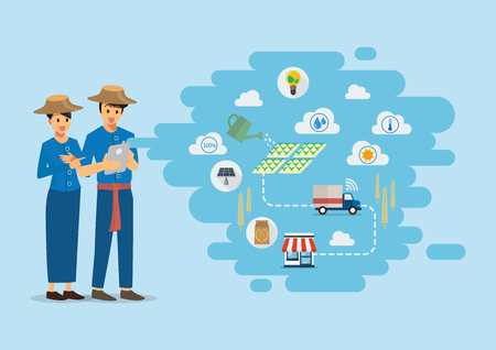 Two farmers with Smart farming Products supply chain from production to customers. Vector Illustration