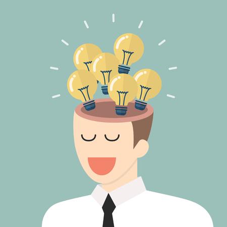 Bright idea from businessman head. Vector illustration Illustration